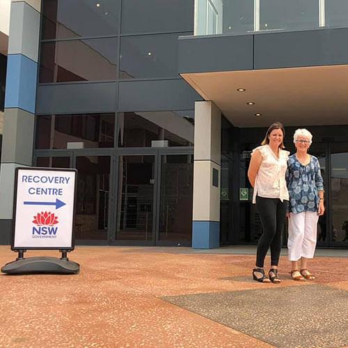 Bega Valley Mayor Kristy McBain with Recovery Centre Coordinator Anne Leydon