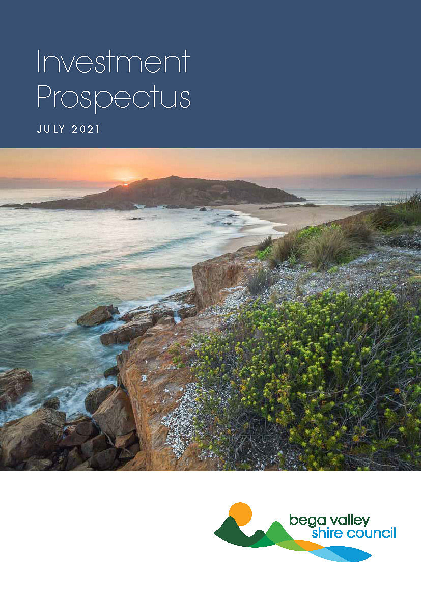 Front cover of the Bega Valley Shire Council Investment Prospectus 2021.