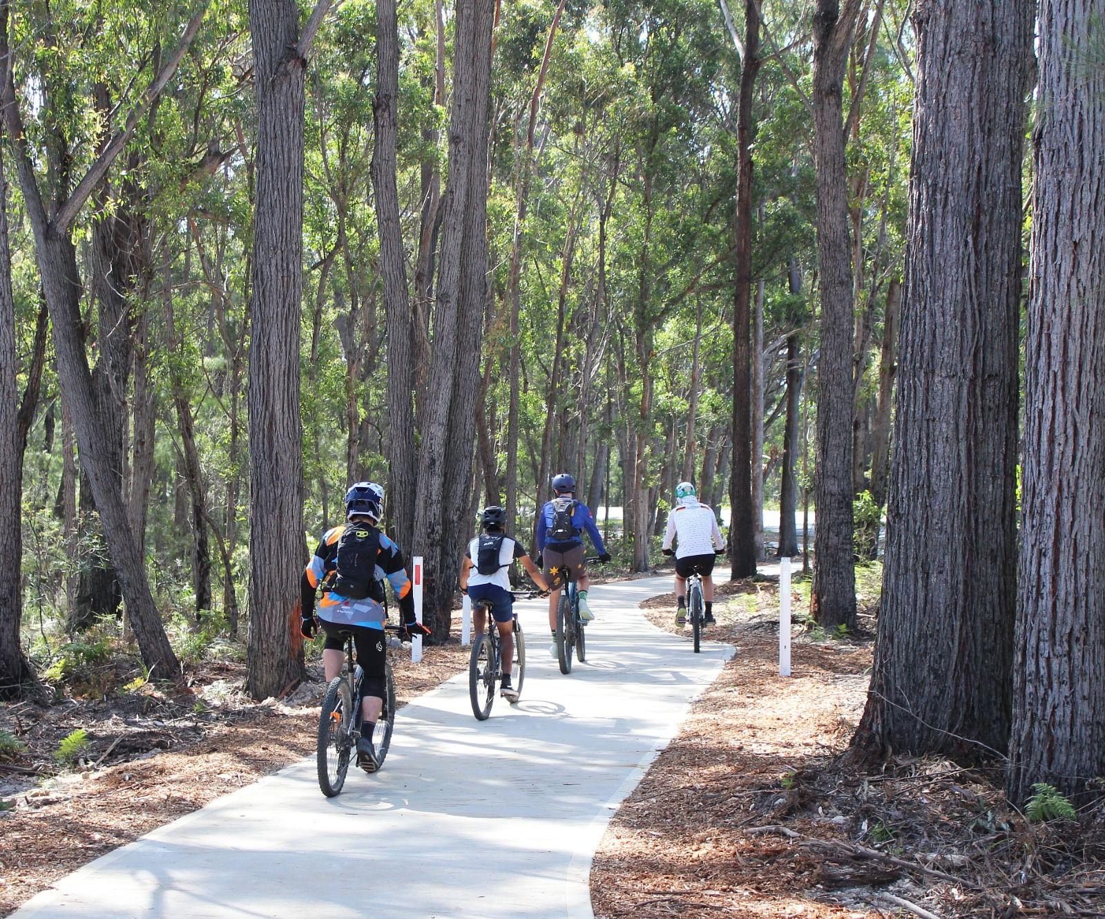 Bike riders on path near Tathra