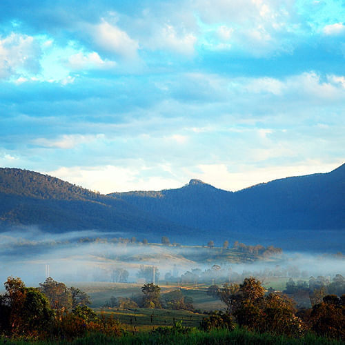 Smoke haze cloaks the Bemboka township.