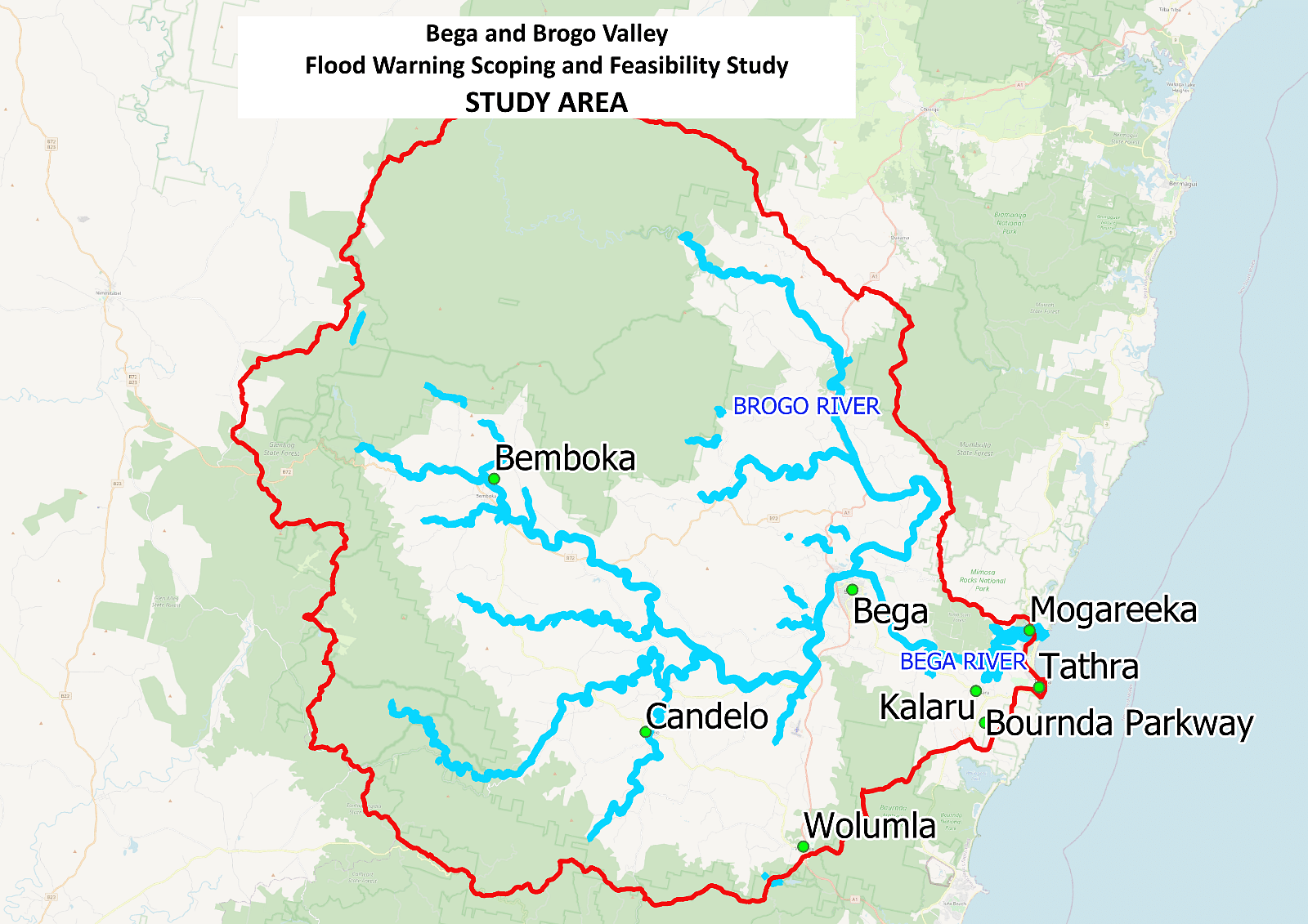 Map showing the total study area for this project.