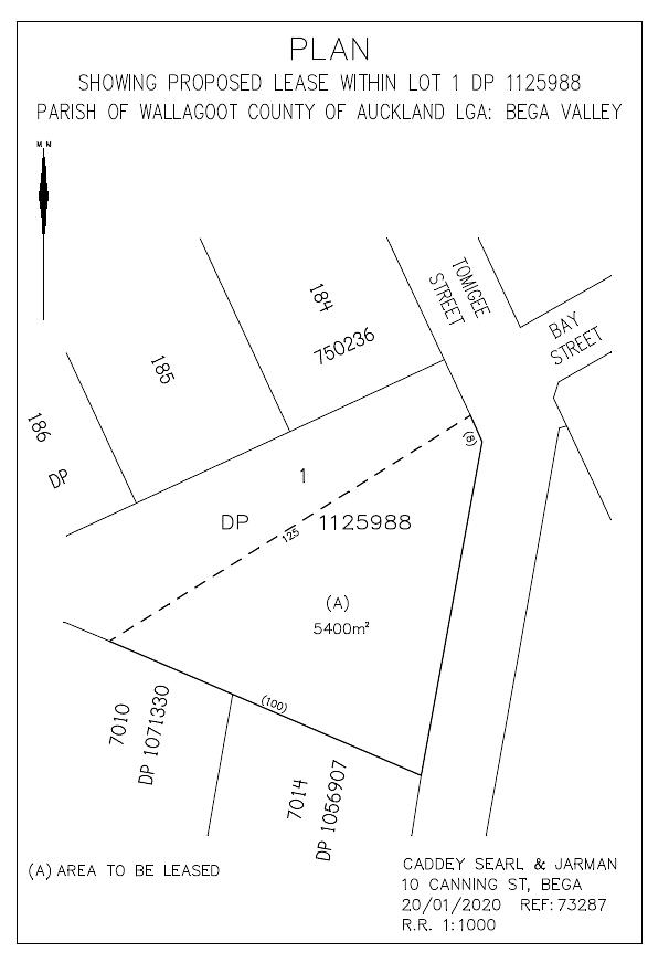 Location plan showing the proposed land for lease.
