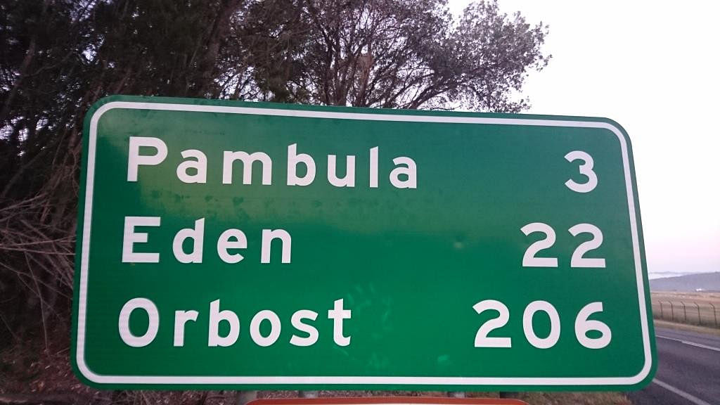 One of the new signs going up around the shire showing distance to towns.