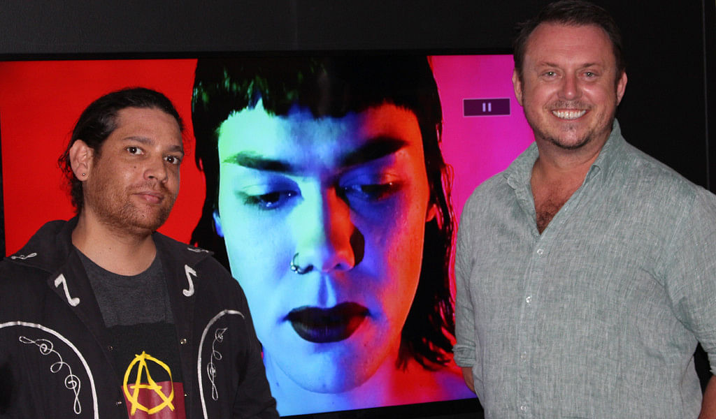 Judge Tony Albert, with Gallery Director Iain Dawson and winner of The Shirl, Misklectic�s video portrait of performance artist Mossy.
