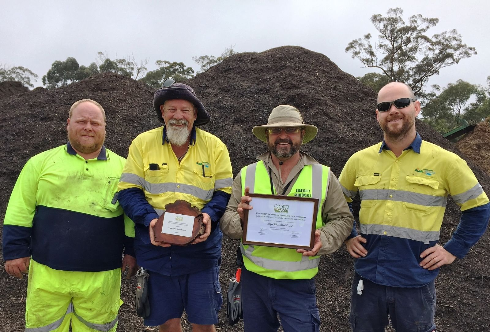 Bega Valley Shire Council compost crew Michael Randall, Glenn Alexander, Mick Yarra and Luke Hamilton are celebrating their recognition at the recent Australian Organics Recycling Association (AORA) Awards.