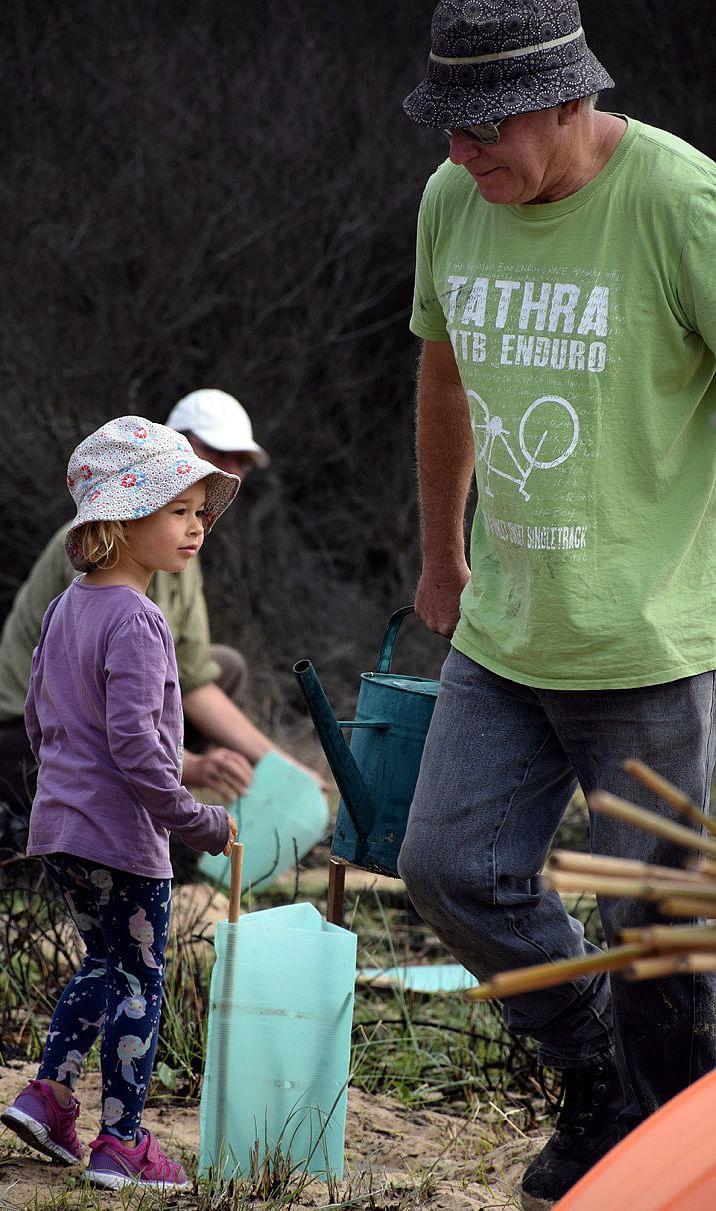 Community planting trees.