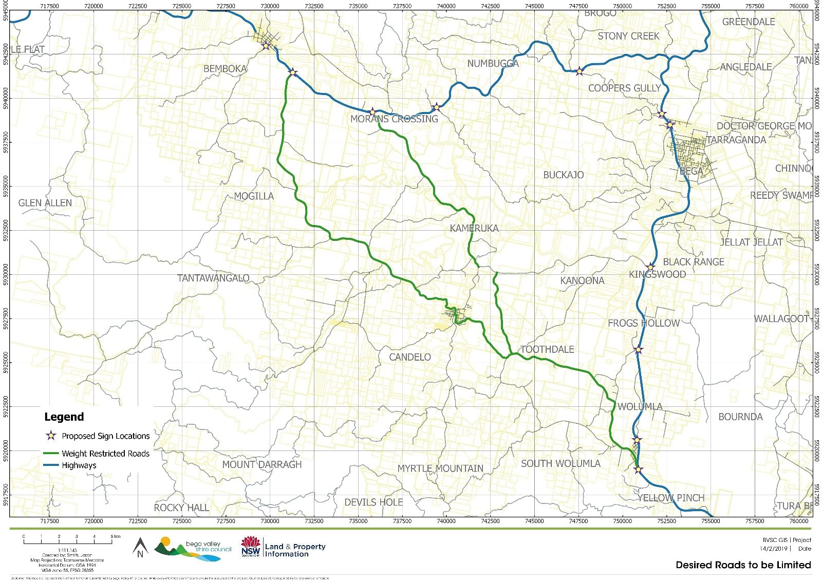 The map shows the roads that were previously the subject of 15-tonne load limits marked in green.
