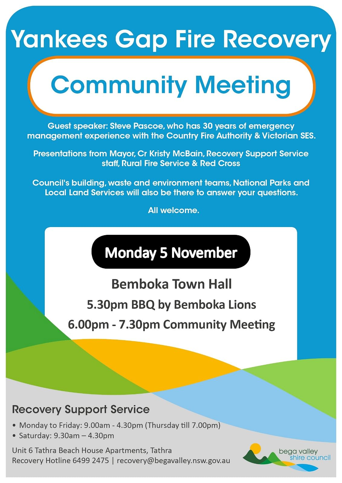 poster promoting public meeting in Bemboka on Monday 5 November 2018 for residents affected by Yankees Gap fire.