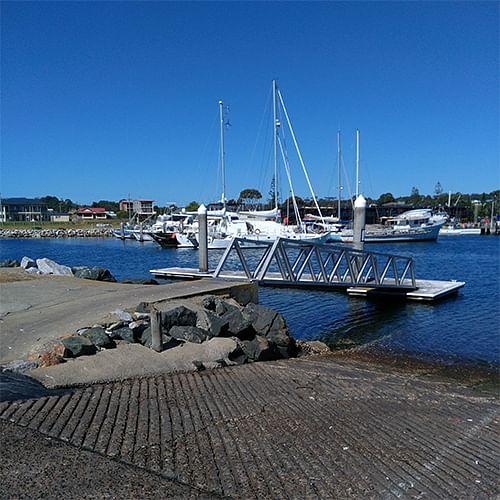 Bermagui Harbour boat ramp.