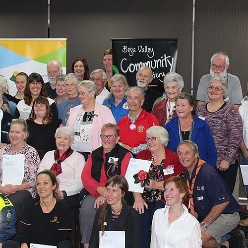 Happy faces representing a number of community organisations at the Bega Valley ClubGRANTS presentation.