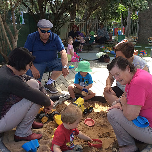 The sandpit was very popular on Grandparents Day at Bandara Childrens Services.