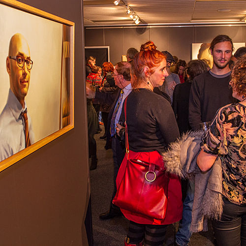 A packed Bega Valley Regional Gallery enjoy the 2016 Shirley Hannan National Portrait Prize.