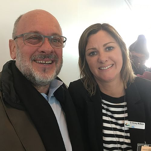 Mayor Kristy McBain, up close with Professor Tim Flannery at this weeks launch of the Cities Power Partnership in Canberra