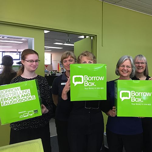 Bega Library staff excited about Borrow Box.