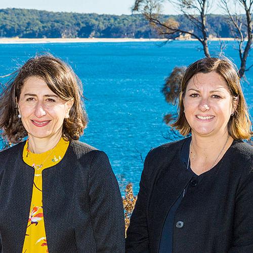 NSW Premier Gladys Berejiklian with Bega Valley Shire Council Mayor Kristy McBain.