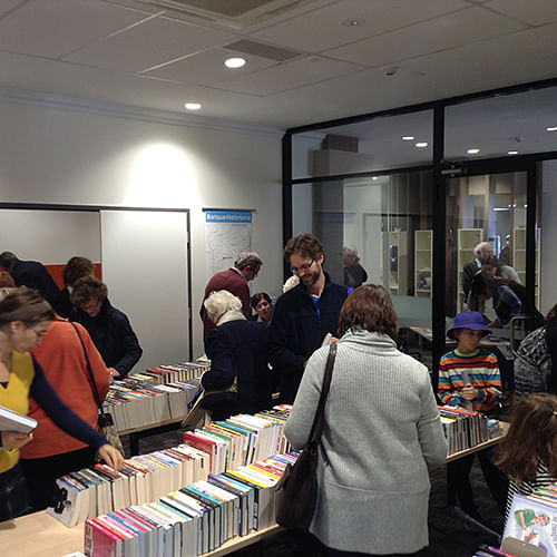 The public selecting books at the Tura Marrang Library opening.
