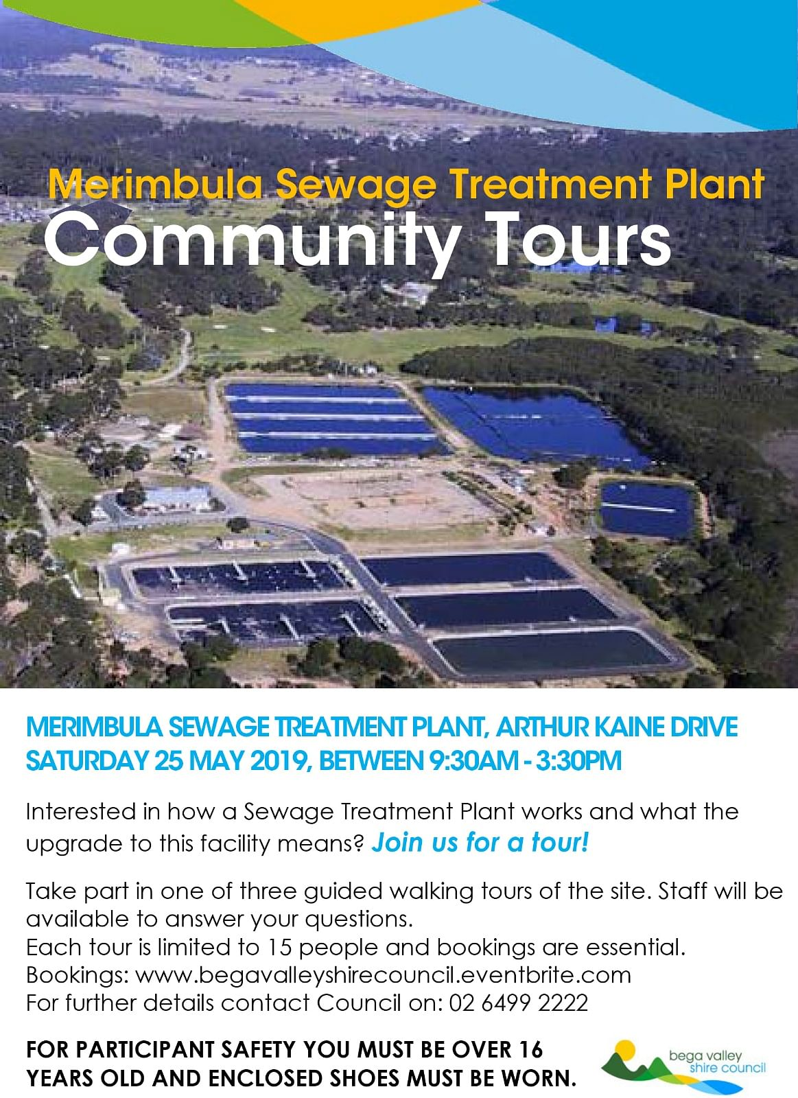 Flyer for Merimbula Sewage Treatment Plant open day public tours.