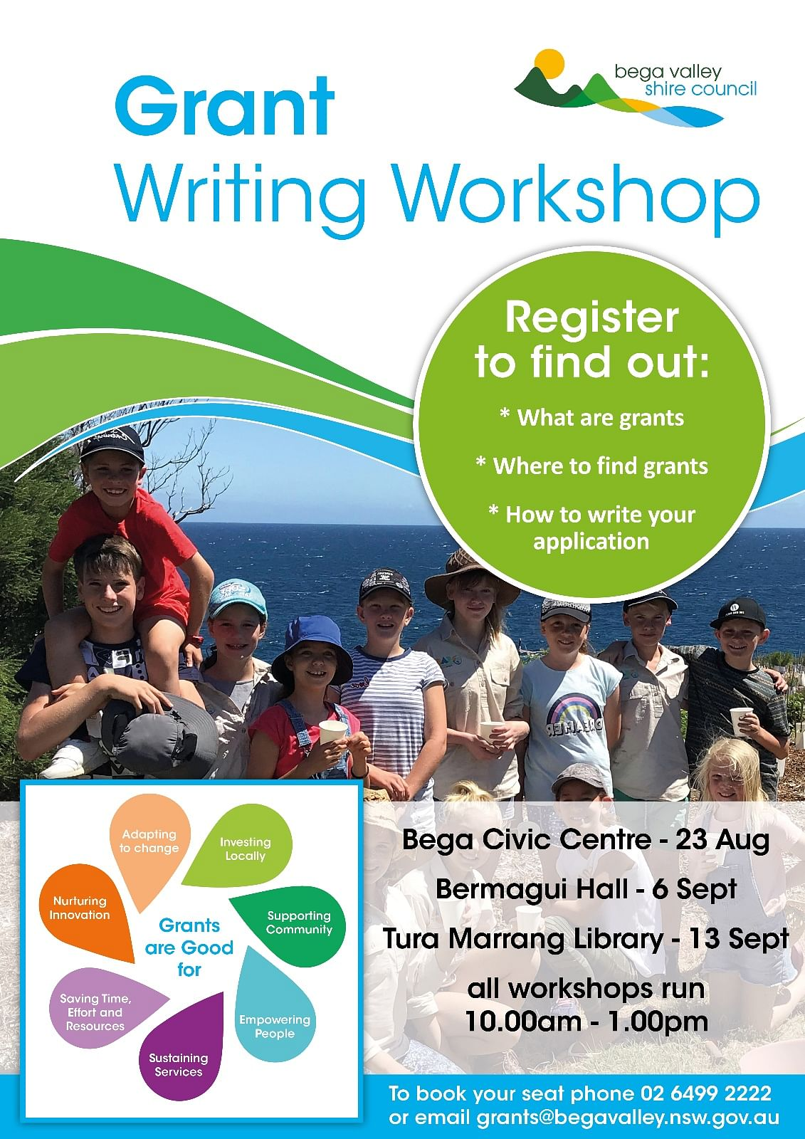 Poster includes venues and dates of grant writing workshops.