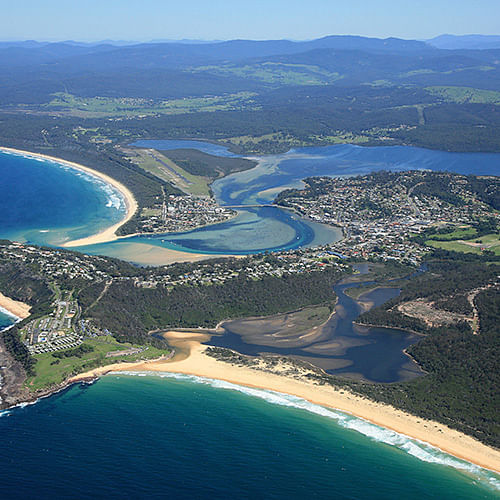 aerial view of Merimbula Lake and Back Lake New South Wales
