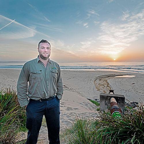 Bega Valley Shire Council's Treatment Plant Coordinator, Jason Darcy, at the Merimbula  beach-face outfall.