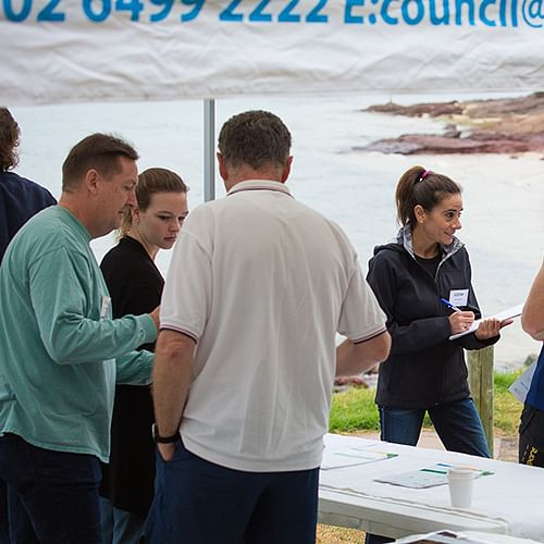 People at Bar Beach information session in March 2019.
