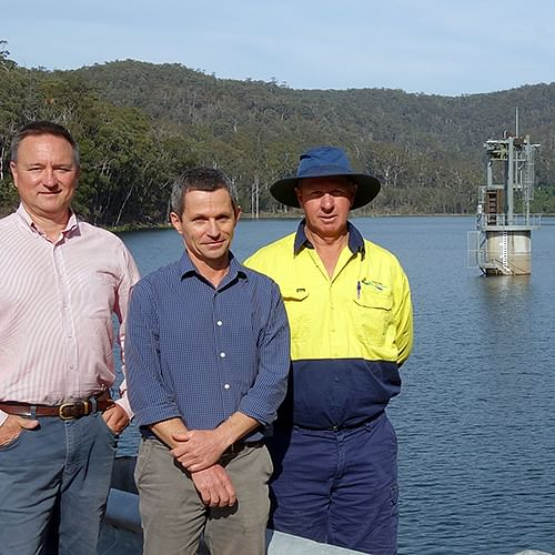 Bega Valley Shire Council Water and Sewerage Services Manager Jim Collins, Water Resources Coordinator Ken McLeod and Merimbula Team Leader Peter Climpson at Yellow Pinch Dam this week.