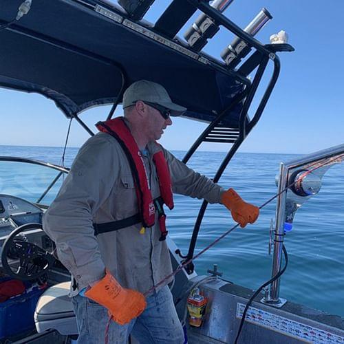 Survey work is currently underway in Merimbula Bay.