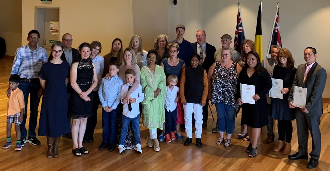 Bega Valley Shire's new Australian citizens with Mayor Russell Fitzpatrick.