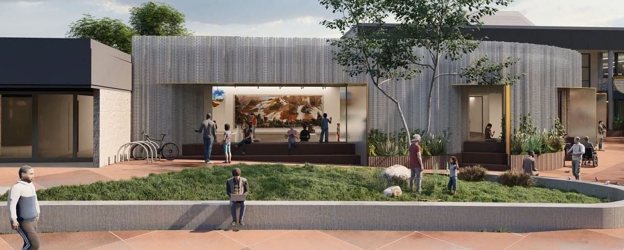 Design concept of front of redeveloped Bega Valley Regional Gallery.