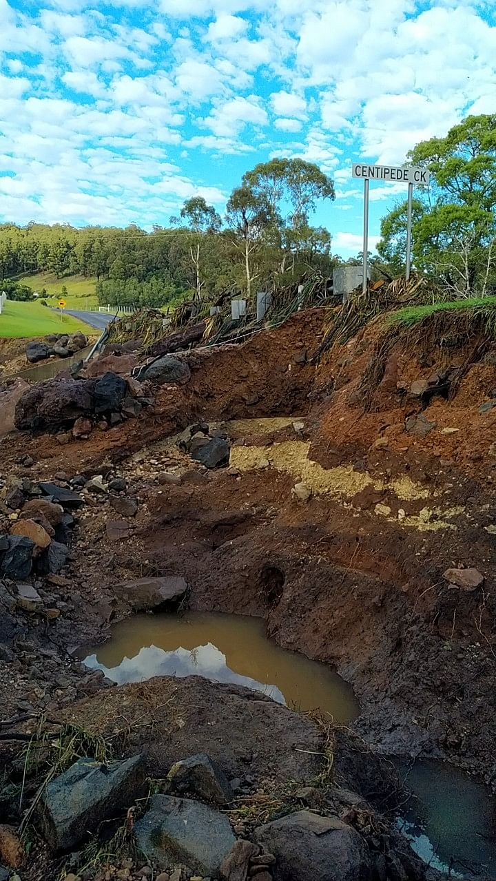Major culvert scour and damage at Centipede Creek, Nethercote following recent flooding.