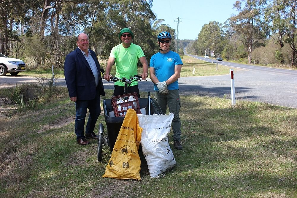 Bega Valley Shire Mayor, Cr Russell Fitzpatrick, with Dane Waites, and Bournda Environmental Education Centre's Doug Reckord.