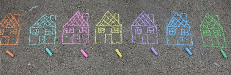 Crayon drawing of housees.