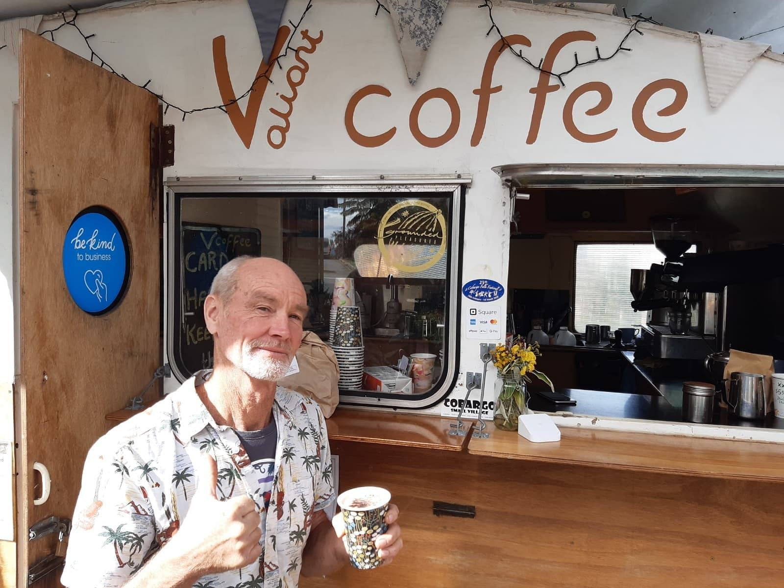 James Bristow in front of his Valiant Coffee caravan in Cobargo.
