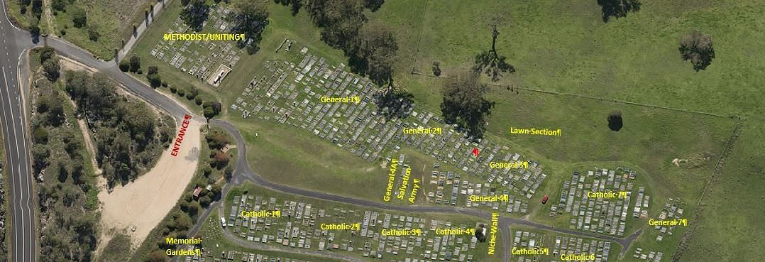 Location of the lawn section at Bega cemetery.