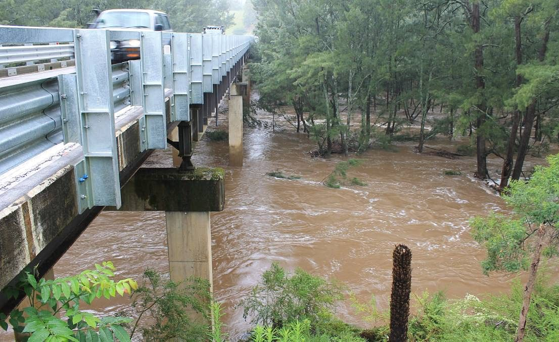 The swollen Brogo River after heavy rainfall. Image credit: Bega District News.
