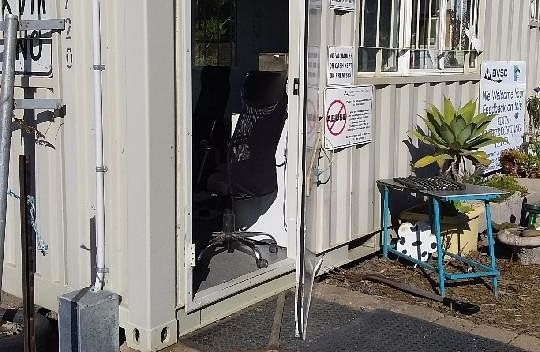 A forced door from a break-in at the Wallagoot Waste Transfer Station.