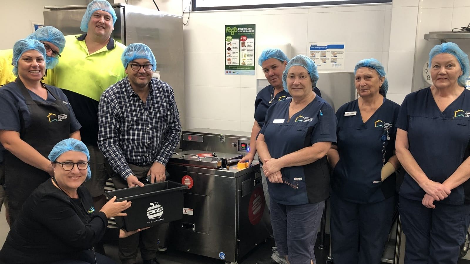 Staff at Hillgrove House being trained how to use the new food dehydrators by enrich360 CEO Dean Turner and Council's Waste Project Officer Rechelle Fisher.