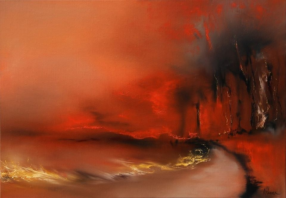 Painting by Eden artist, Anna Warren titled Fire along the track.