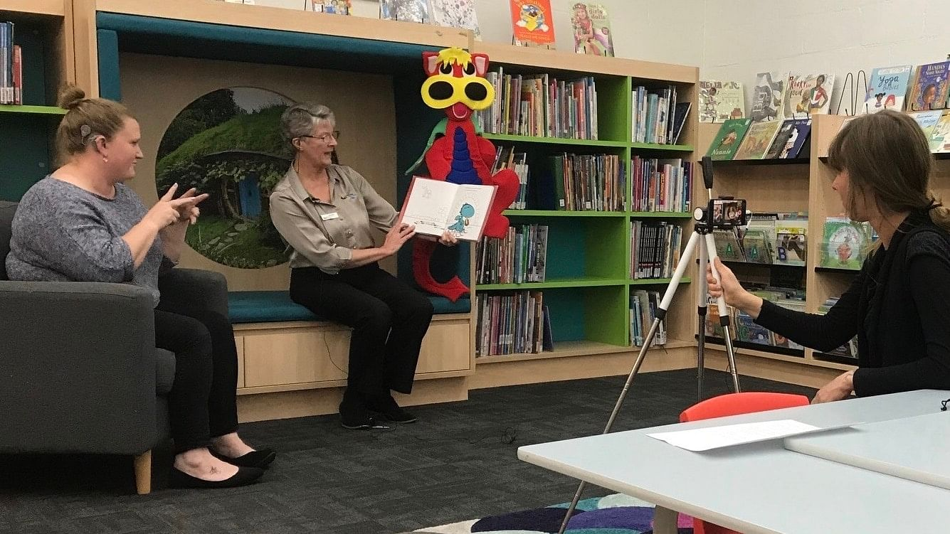 Stephanie Johnston and Anne Moore deliver the first inclusive Storytime for the Bega Valley Shire Library Service.