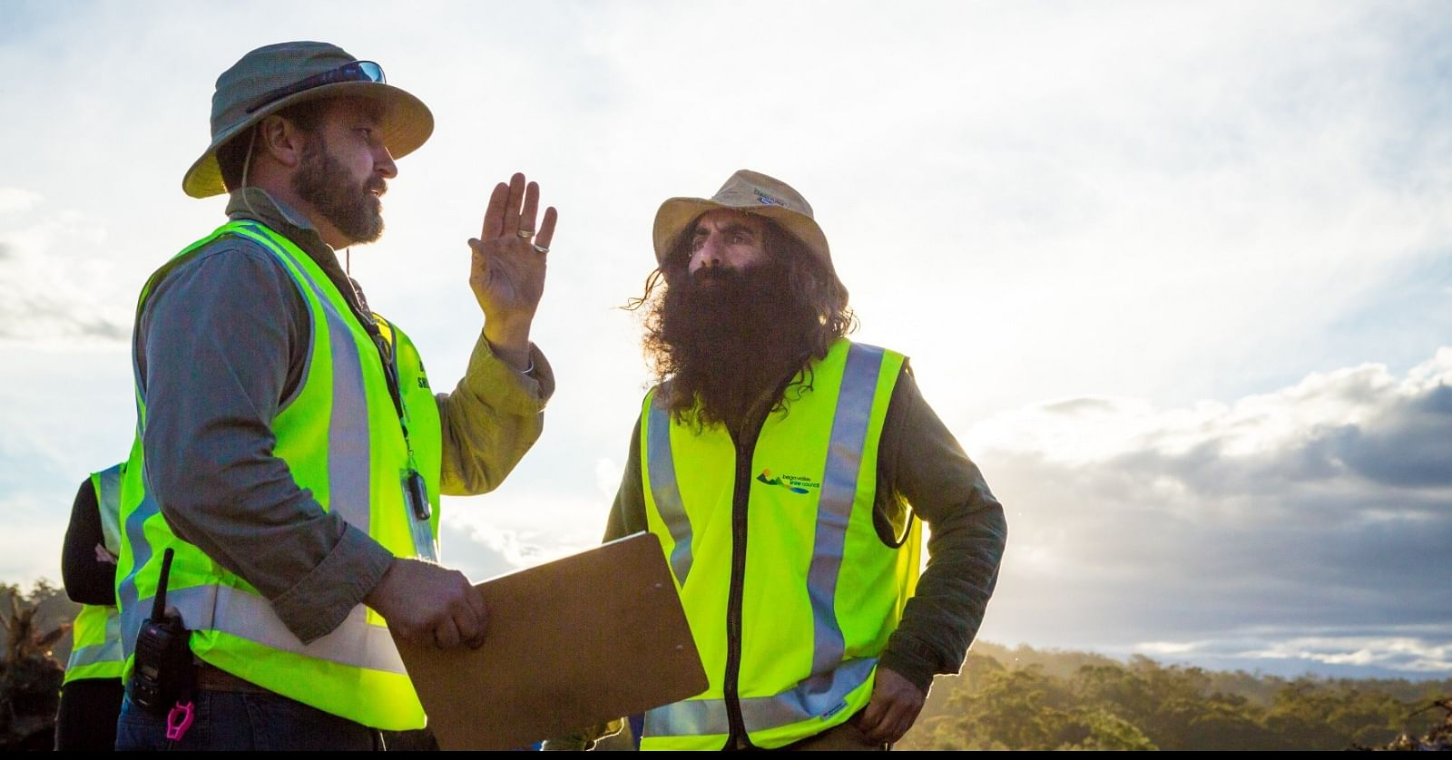 Costa Georgiadis talks FOGO Compost with Council's Mick Yarra during a tour of Merimbula Organics Processing Facility when Bega Valley Shire Council introduced FOGO in 2018.