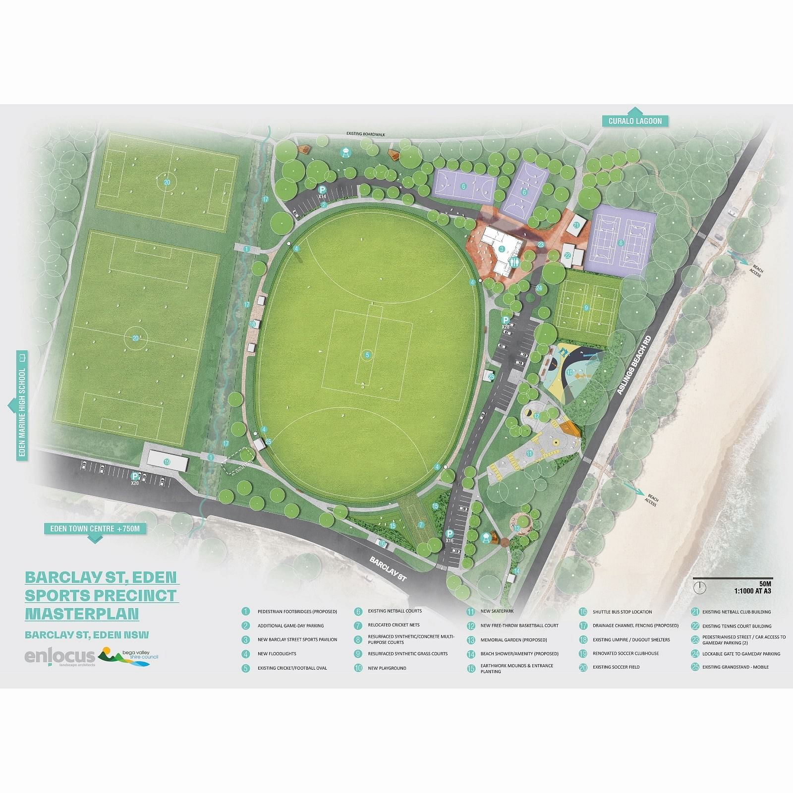 A masterplan for the Barclay Street sporting precinct in Eden has been endorsed by Council.