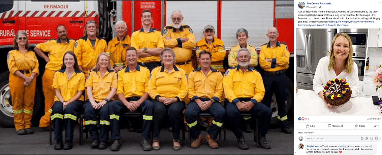 Group photo of the Bermagui Rural Fire Service crew and a photo of Steph Lazzaro with her pay it forward birthday cake.