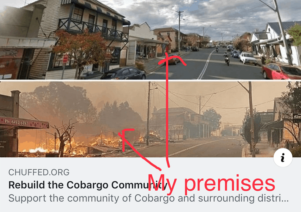 Top picture is of the main Cobargo road before the fire and the photo underneath that is of the buildings burning.