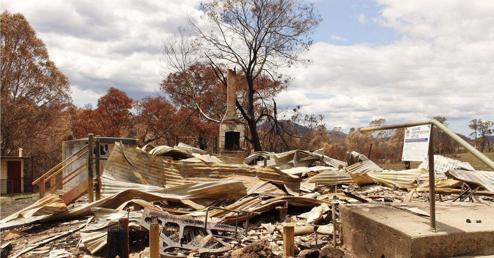 Bushfire burnt building.