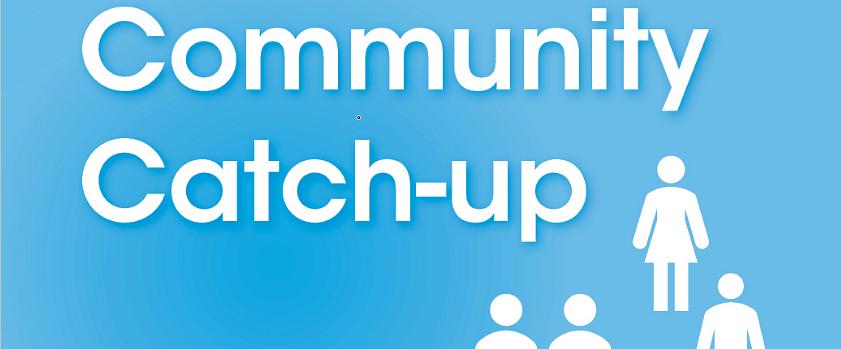 Community catch-up Facebook tile in blue.