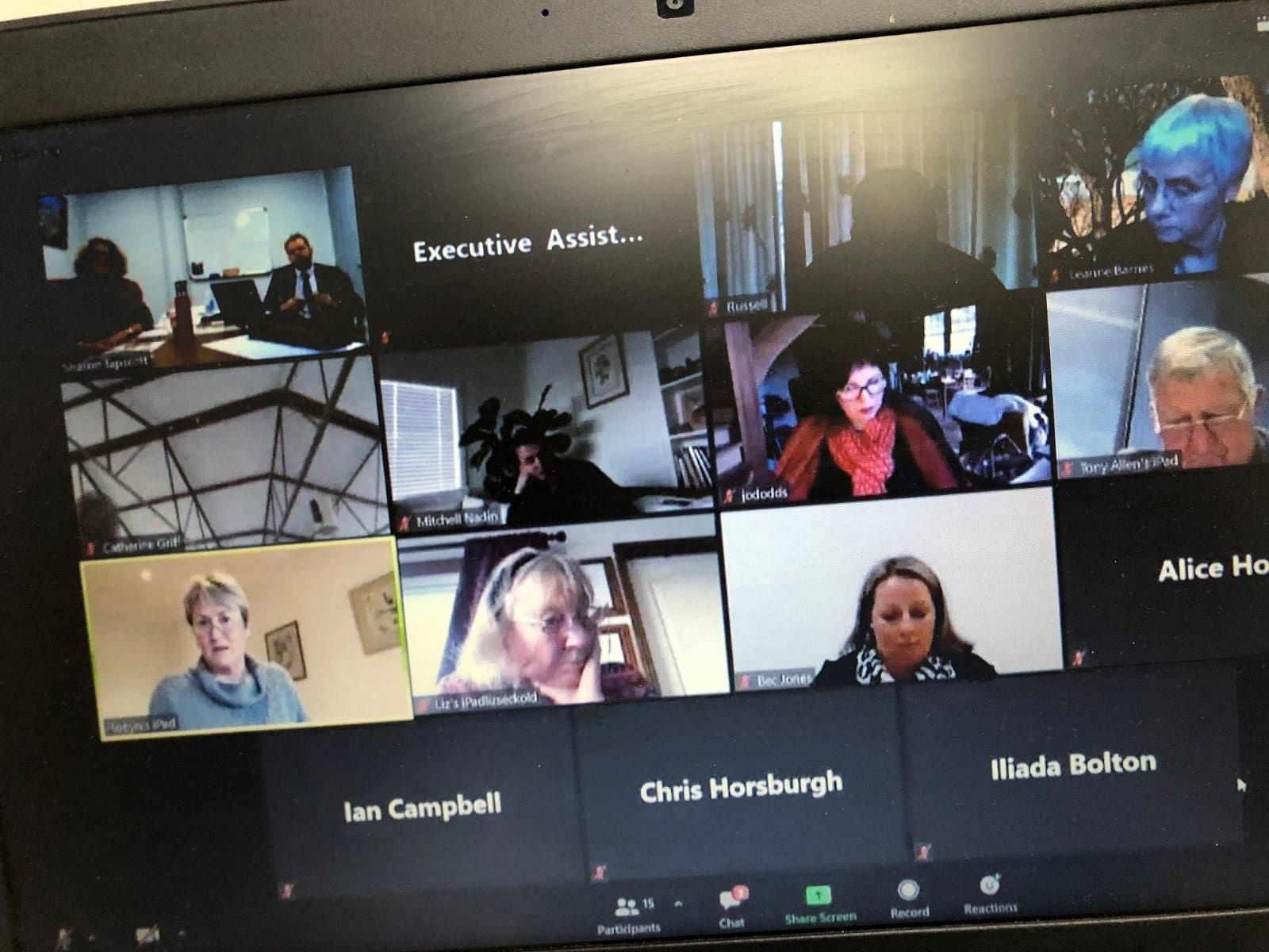 Council meeting via Zoom.