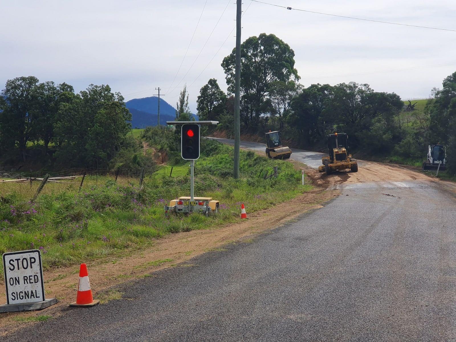 Heavy patch work on Sam's Corner Road, Bemboka