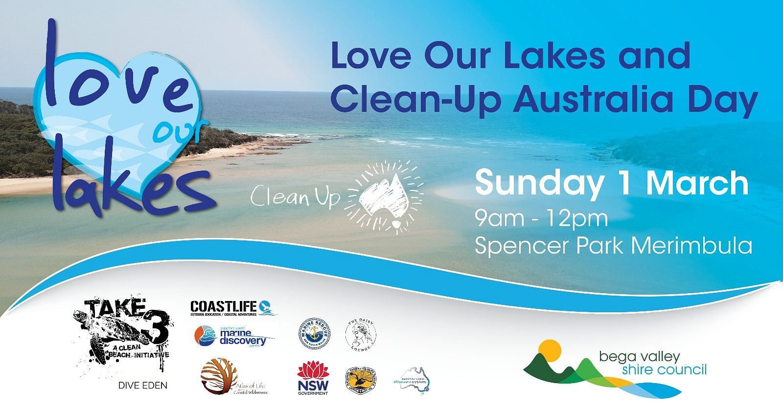 Clean up Australia Day and Love Our Lakes banner.