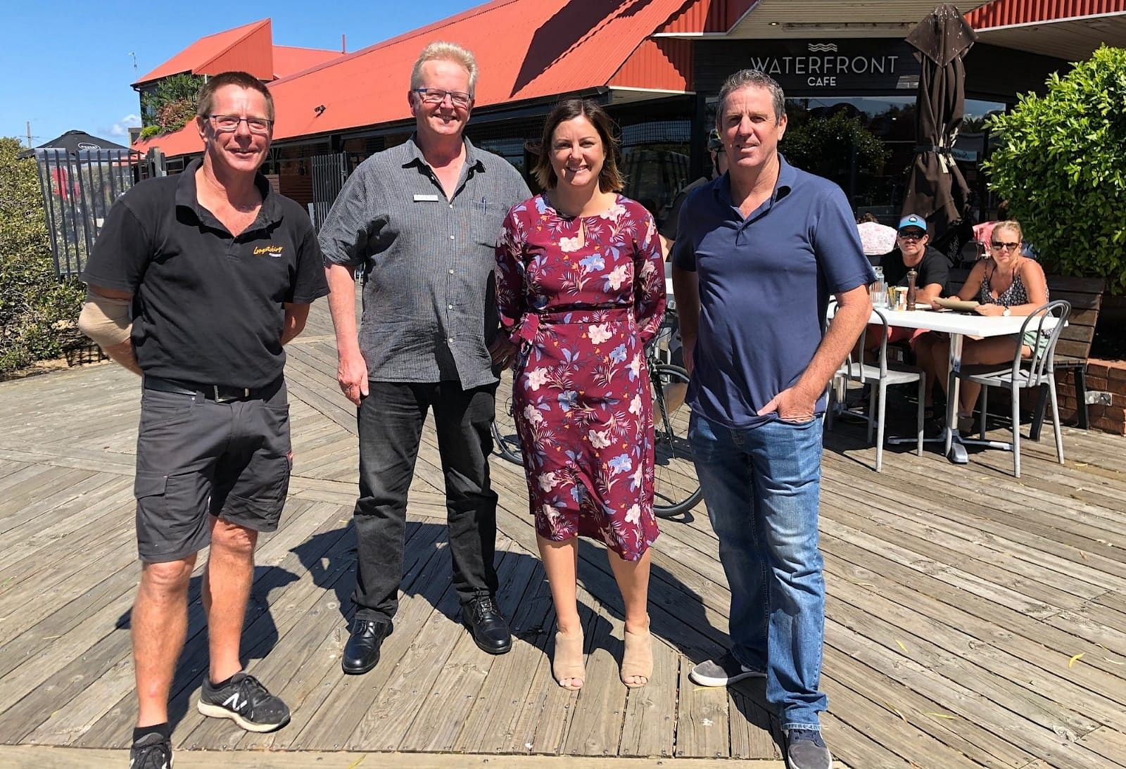 At the launch of the federal and New South Wales government's bushfire business package, from left to right, Peter Caldwell from Longstocking Brewery, Chris Nicholls from Merimbula Visitor Information Centre, Bega Valley Mayor Kristy McBain and President of the Merimbula Chamber of Commerce Nigel Ayling.
