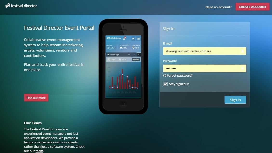 Festival Director ticketing and event management portal.